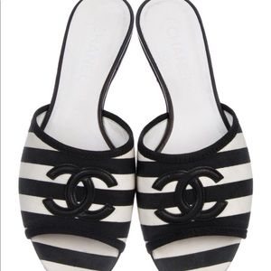 Chanel CC Striped Sandals